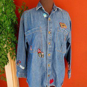 Zara Trafaluc Embroidery Patch Denim Shirt S